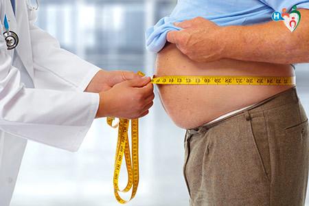 Immagine di una persona obesa misurata dal medico