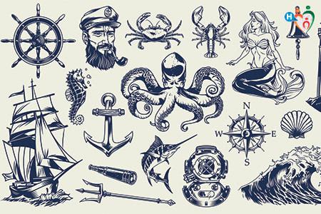 Immagine che riporta diversi simboli legati al mondo marinaresco