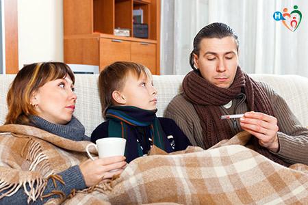 Immagine che mostra una famiglia riunita sul divano un po' influenzata