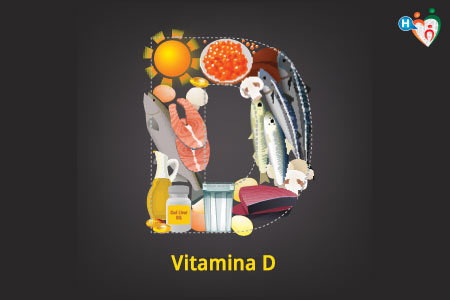 Immagine che mostra la lettera D disegnata con pesci e altri alimenti che contengono la vitamina D