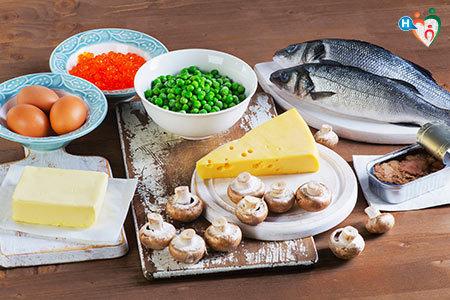 Immagine che mostra alimenti che contengono la vitamina D