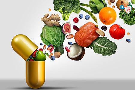 Immagine di un integratore, una pillola che contiene le proprietà di frutta e verdura