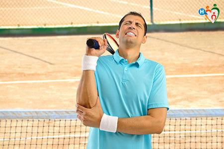 Immagine che mostra un tennista mentre soffre a causa del dolore al braccio