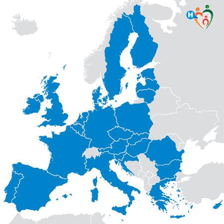 Immagine che mostra la cartina dell'unione auropea