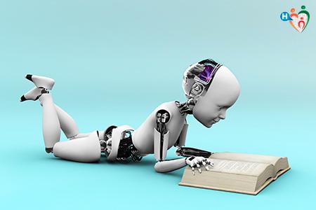 Immagine di un robot mentre legge un libro