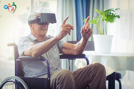 Immagine di un paziente invalido che indossa un dispositivo per la realtà aumentata