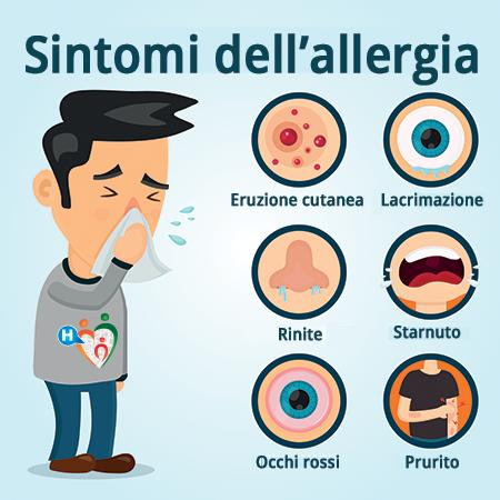 Immagine che mostra quali sono i sintomi dell'allergia