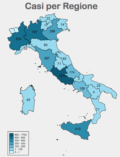 Morbillo: casi per regione dicembre 2017
