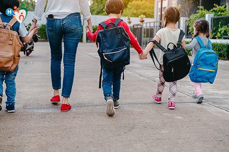 Immagine di alcuni bambini con la cartella in spalla mentre vanno a scuola.