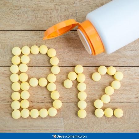 Immagine che ritrae pillole che si dispongono a formare il titolo vitamina B12