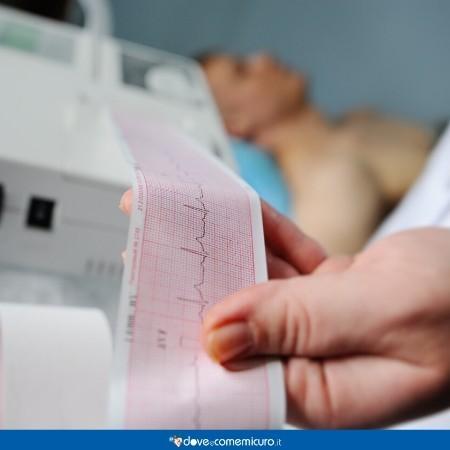 Immagine che ritrae un elettrocardiogramma con il paziente sullo sfondo