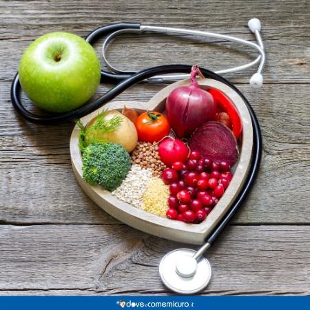 Immagine che ritrae una ciotola a forma di cuore e alimenti adatti alla tachicardia