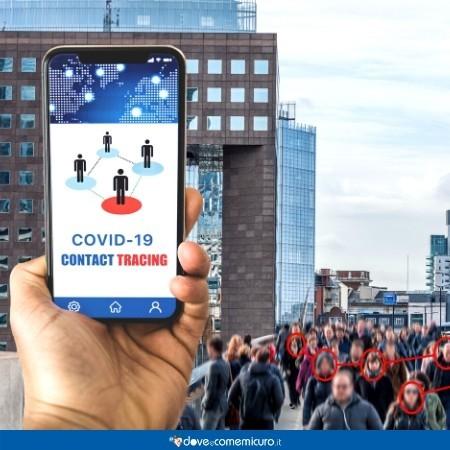 Immagine che ritrae uno smartphone sull'homepage di un'app di contact tracing