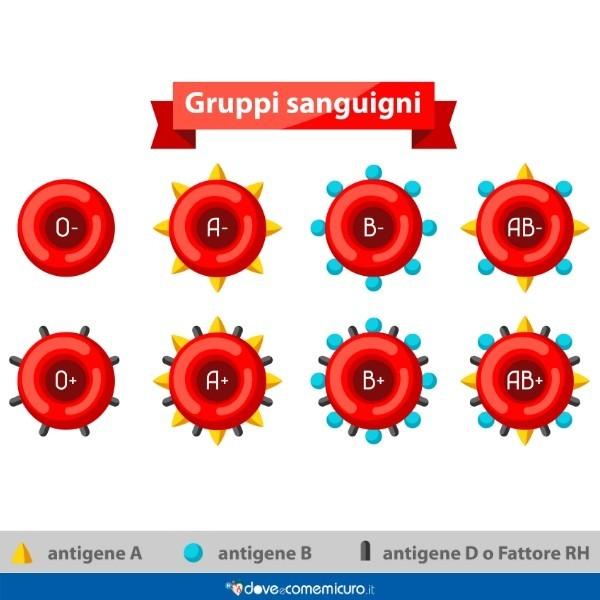 Infografica che mostra i gruppi sanguigni e i relativi antigeni