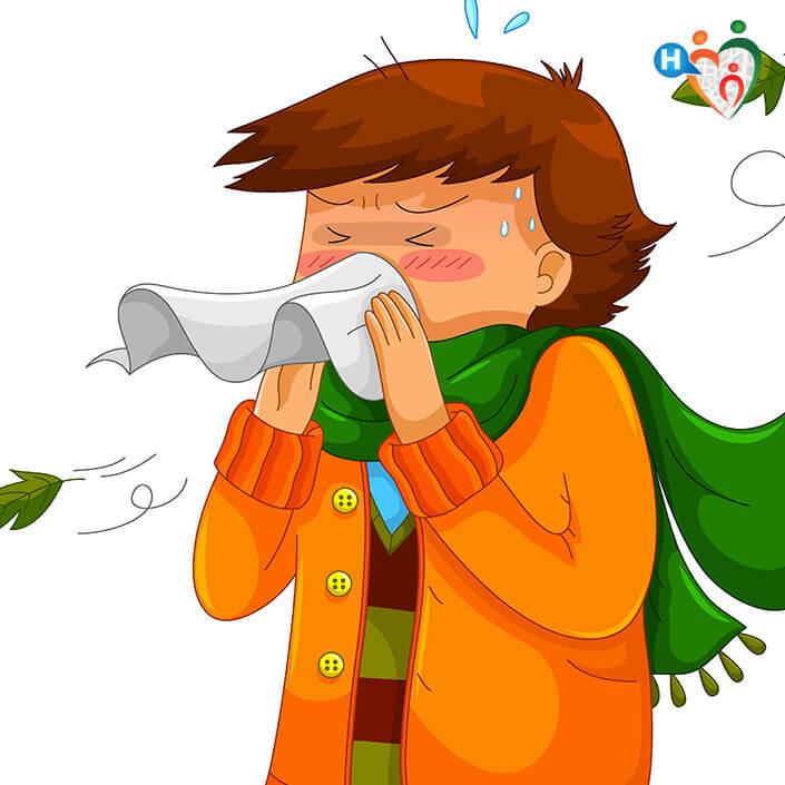 Immagine di un bambino che si soffia il naso