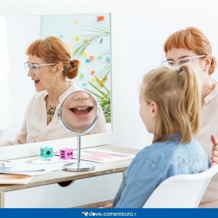 Immagine che ritrae una bambina mentre fa esercizi allo specchio con la logopedista