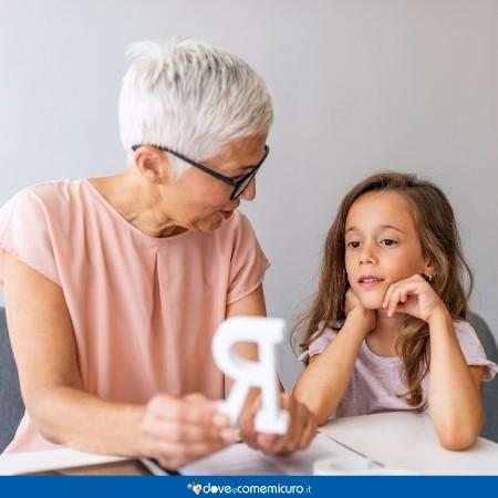 Immagine di una logopedista che mostra la lettera R a una bambina