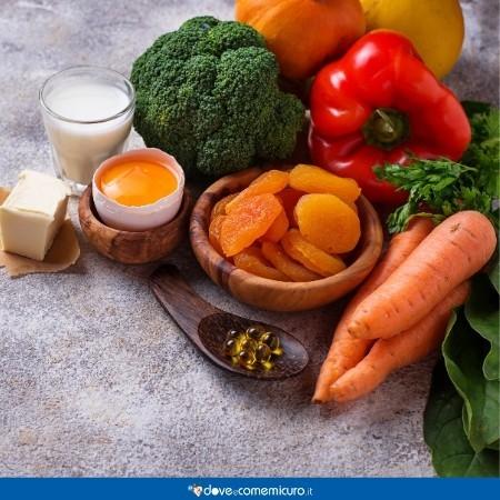 Immagine che ritrae alimenti ricchi di vitamina A e carotenoidi
