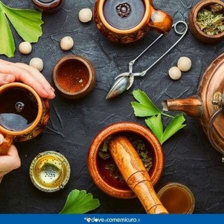 Immagine che ritrae l'utilizzo delle foglie di ginkgo biloba per tisane e preparati