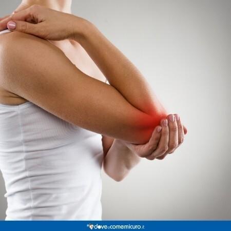 L'immgine mostra il dolore articolare di una donna la gomito