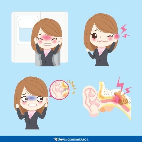 Immagine infografica che rappresenta il dolore dell'orecchio con l'acufene