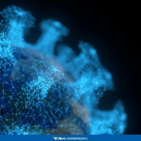 Immagine che mostra la rappresentazione digitale del coronavirus