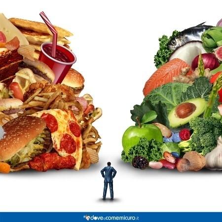 Immagine che rappresenta la scelta tra un'alimentazione sana e una ricca di grassi