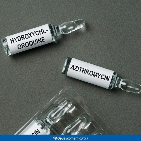 Immagine che rappresenta due fiale, una di azitromicina e l'altra di idrossiclorochina