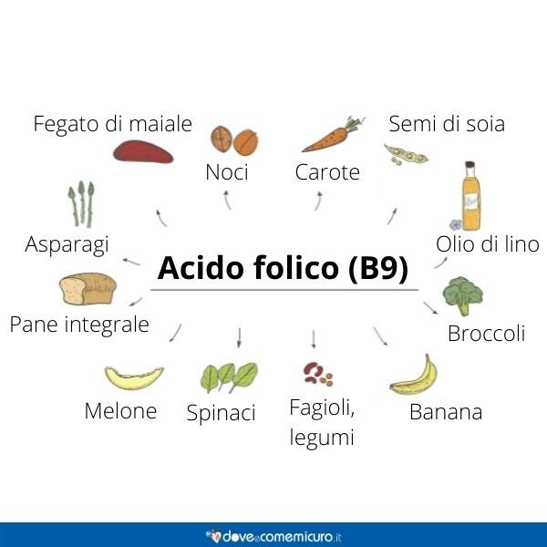 Immagine infografica che rappresenta gli alimenti che contengono vitamina b9