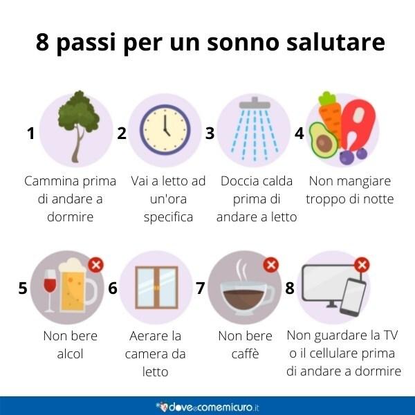 Infografica che rappresenta 8 passi per un sonno salutare