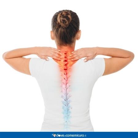 Immagine che rappresenta una donna con dolore alla colonna vertebrale