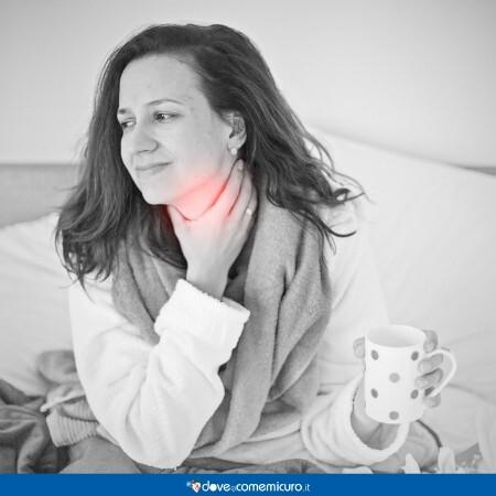 Immagine che rappresenta una donna con dolore alla tiroide