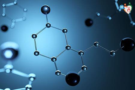 Serotonina, l'ormone della felicità. Rappresentato nella sua formula chimica