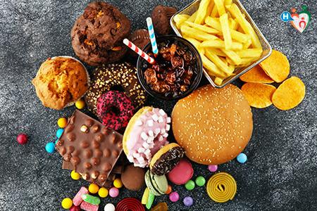 Immagine che mostra dolciumi d'ogni sorta e vari cibi e bevande gassate, grasse e zuccherate.