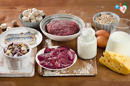 immagine che mostra gli alimenti che contengono la vitamina b12, soprattutto carni, uova, latte e pesce